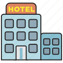 hotel, building, restaurant, travel, place, room, vacation icon