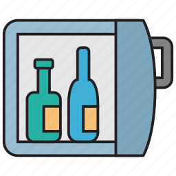 alcohol, bar, beverage, bottle, drink, fridge, wine icon