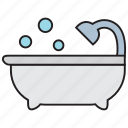 bath, bathroom, bathtub, bubble, faucet, shower, water icon