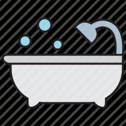bath, bathroom, bathtub, bubble, faucet, shower, water icon