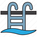 game, ladder, pool, sports, swim, swimming, water icon