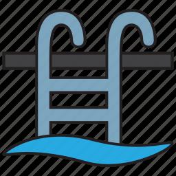 game, ladder, pool, sports, swim, swimming, water icon