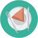 food, fork and knife, snack in plate, tableware, totopos in plate icon