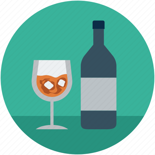 alcohol, beverage, bottle, bottle and glass, drink, glass icon