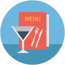 bill of fare, carte du jour, glass, glass and menu, glass with menu, menu book, menu card icon