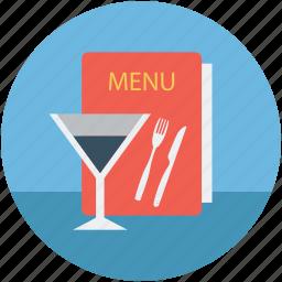 bill of fare, carte du jour, glass, glass and menu, glass with menu, menu book, menu card icon
