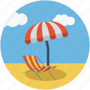 beach, deck chair, parasol, summer, sun bathing, tanning icon