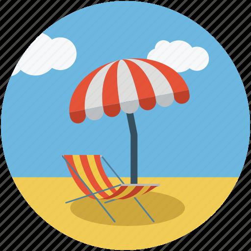 beach, deck chair, parasol, summer, sun bathing, tanning icon