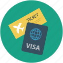 air ticket and passport, pass, permit, travel id, travel permit