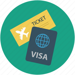 air ticket and passport, pass, permit, travel id, travel permit icon