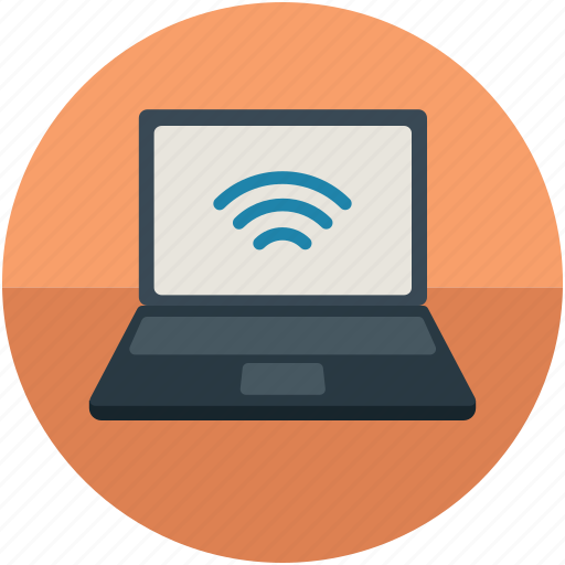 internet, laptop, pc internet, pc network, screen wifi signals icon