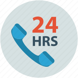 call, communication, contact, telephone receiver, twenty four hours icon