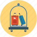 cart, hotel, hotel luggage cart, hotel service, luggage, service icon