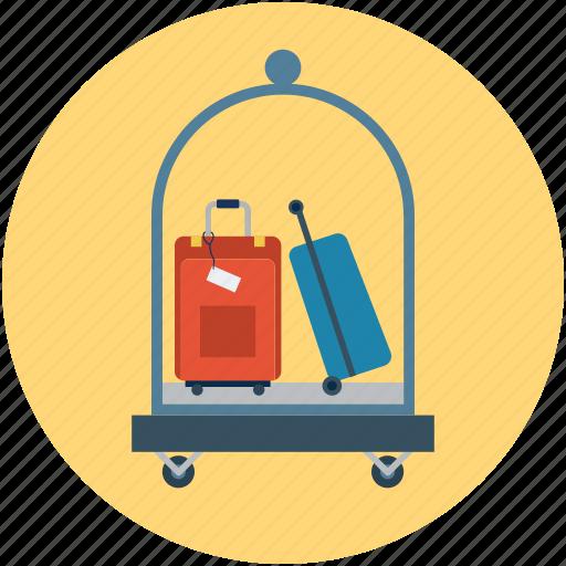 cart, hotel, hotel luggage cart, hotel service, luggage, service icon