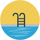 pool, staircase, summer, swimming pool, swimming staircase icon
