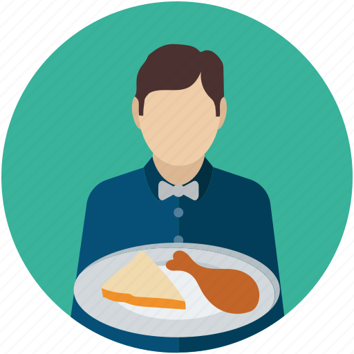 attendant, butler, food service, food serving, man steward, servant, waiter icon