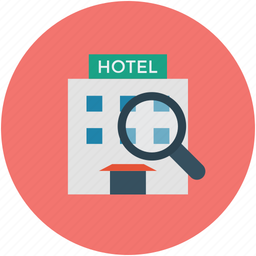 find, hotel, inspection, investigation, magnifier, search icon