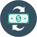 cash, dollar, dollar with refresh sing, money, refresh sign, sync icon