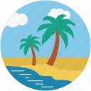 beach, nature, palm trees, trees, tropical beach, tropical trees icon