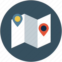 location, map, navigation, pin, unfolded map icon