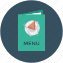 bill of fare, carte du jour, menu, menu book, menu card icon