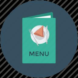 bill of fare, carte du jour, menu, menu book, menu card icon