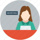lady manager, manager, female manager, receptionist, reception icon