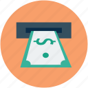 atm, atm machine, cash, cashout, dollar, transaction, withdrawal icon