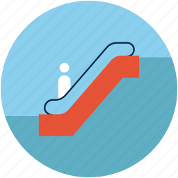 down sign, electric staircase, escalator, staircase, stairs icon