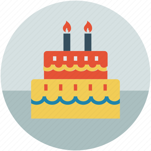 birthday cake, cake, cake and candles, dessert, party, party cake icon