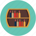 bar, bottles rack, rack, wine rack, wooden rack icon