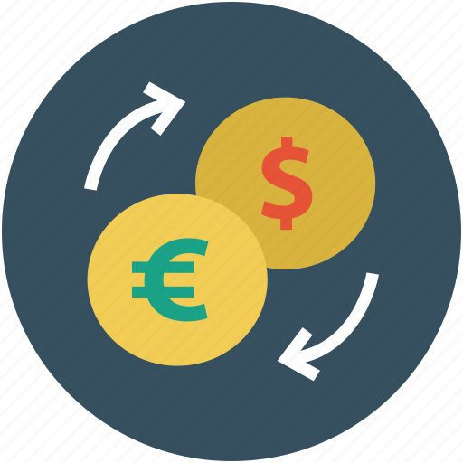 currency converter, dollars, euro, money exchange, money transfer icon