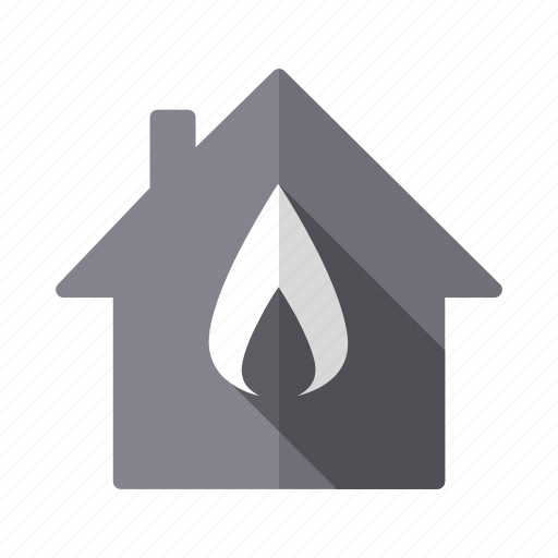flame, gas, heating, home, house, property, real estate icon