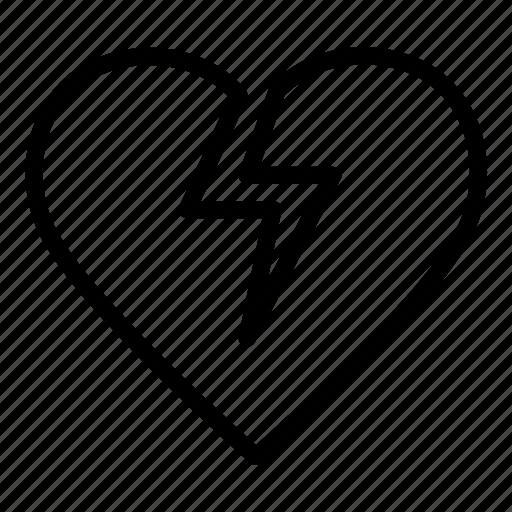 broken, feeling, heart, love, power, romantic, valentine icon