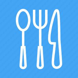 cutlery, fork, kitchen, knife, silverware, spoon, utensils icon