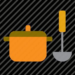 casserole, cooking, kitchen, ladle, pan, pot, saucepan icon