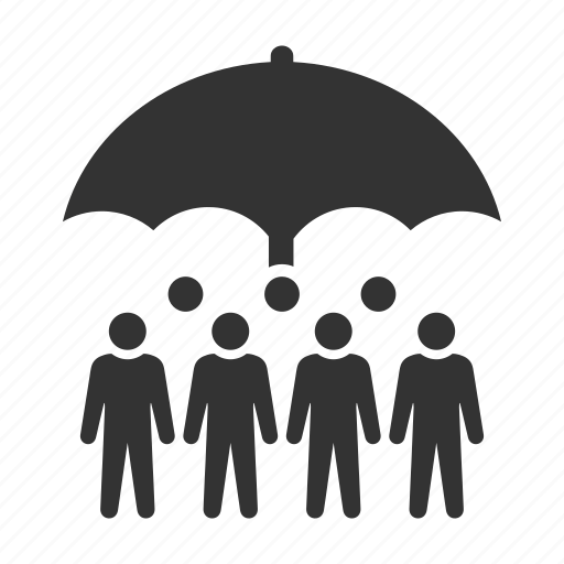 crowd, hr, insurance, personnel, protection, staff, umbrella icon