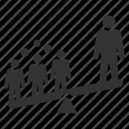 balance, discrimination, employee, employees, inequality, recruitment, selection icon