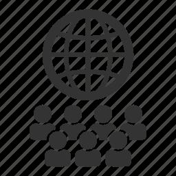 global, globe, international, multilingual, network, staff icon