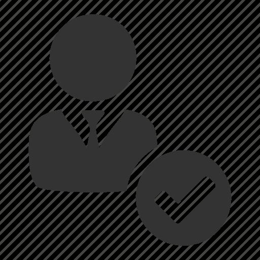 approve, login, people, profile, tick, user, verified icon