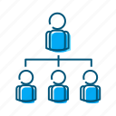 ceo, command structure, delegate, hierarchy, top to bottom icon