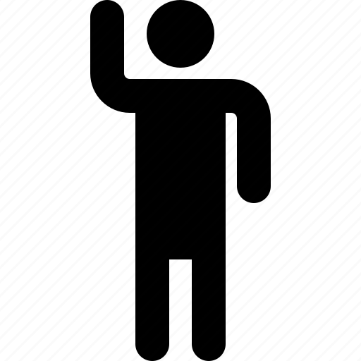 activity, hand, human, left, man, standing, up icon