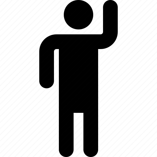 activity, hand, hi, man, right, standing, up icon