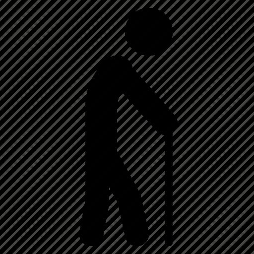 aged, elder, man, old, seniorcitizen, stick, walk icon