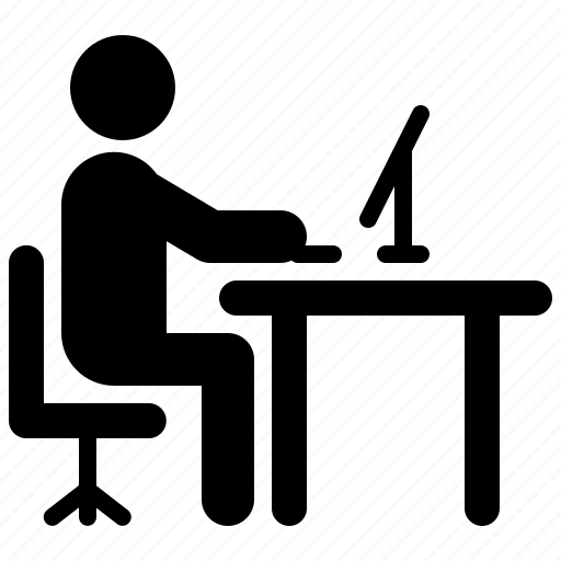 computer, desk, man, office, work, working, workplace icon