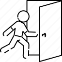 escape, exit, going, out, run, running icon