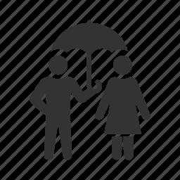 couple, gentleman, insurance, protection, rain, safety, umbrella icon