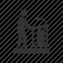 audience, demonstration, podium, presenter, seminar, speaker, stand icon