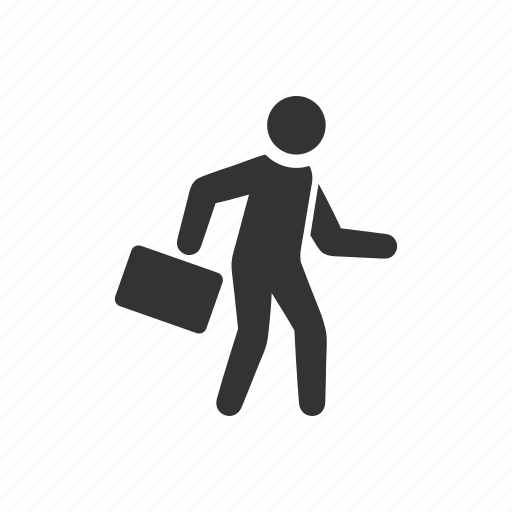 briefcase, businessman, busy, running, rush, travel, trip icon