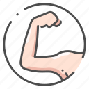 arm, body, female, health, human, organ, strong icon